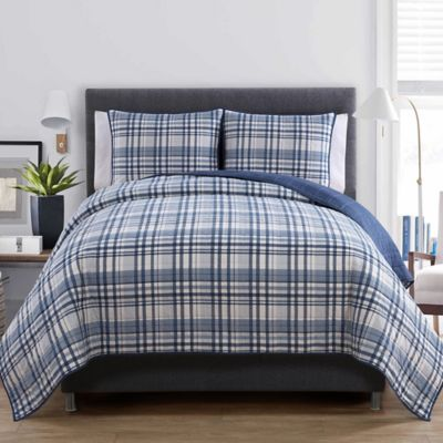 VCNY Durham Twin Quilt Set in Blue