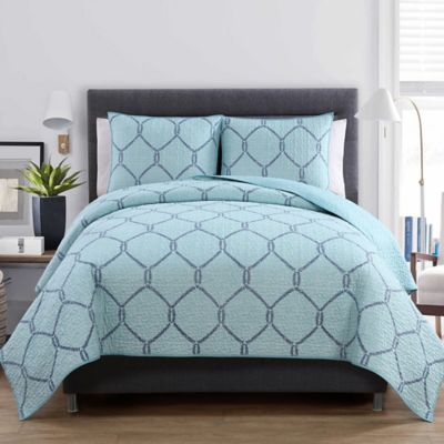 VCNY Belmar 2-Piece Twin Quilt Set in Light Blue