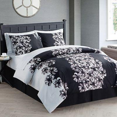 VCNY Valerie 8-Piece Full Comforter Set in Black/White