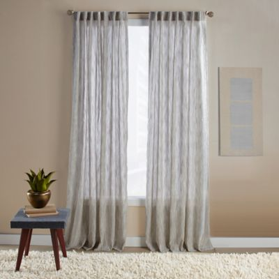 Aspire Ikat 108-Inch Rod Pocket/Back Tab Window Curtain Panel in Green