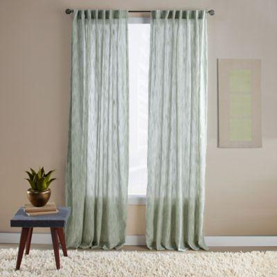 Aspire Ikat 63-Inch Rod Pocket/Back Tab Window Curtain Panel in Green
