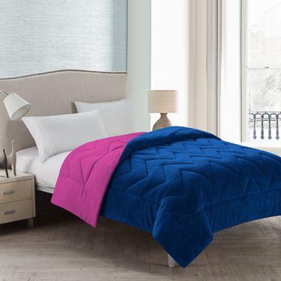 VCNY Lauren Chevron Reversible Twin Comforter in Pink/Blue