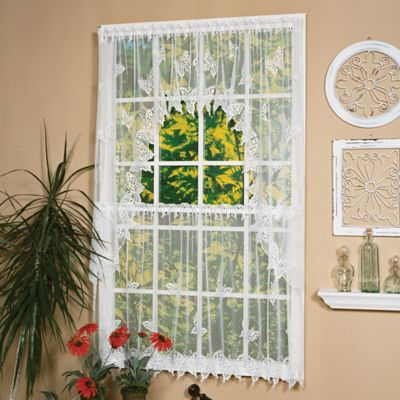Heritage Lace® Butterflies Window Swag Pair in White