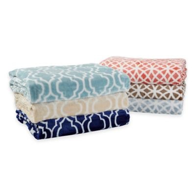 Stella Collection Twin-Sized Ultra Plush Printed Blanket in Navy