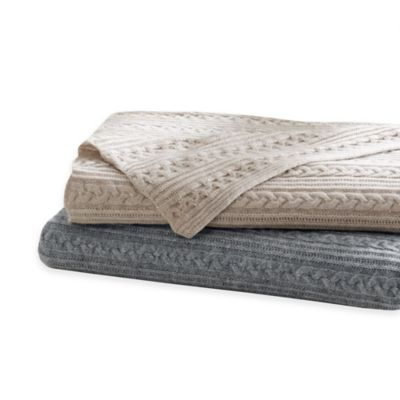 Madison Park Cashmere Blend Cable Knit Throw in Oatmeal