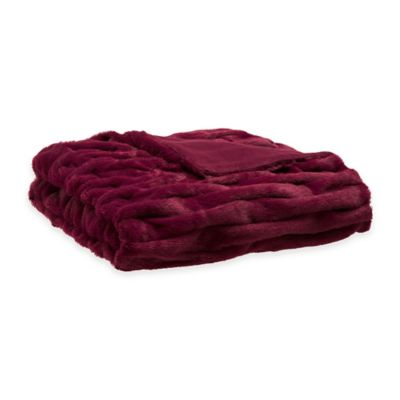 Madison Park Ruched Fur Throw in Red
