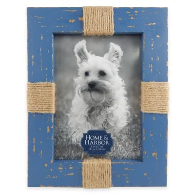 Home and Harbor 5-Inch x 7-Inch Wood Twine Picture Frame in Rustic Blue