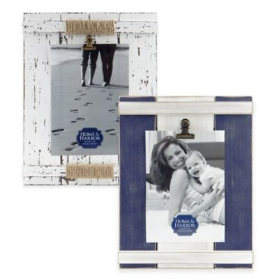 Home and Harbor 5-Inch x 7-Inch Wood Plank Picture Frame in Blue