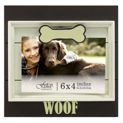 "Fetco Home Decor™ 4-Inch x 6-Inch ""Woof"" Jethro Clip Wood Frame in Chocolate"