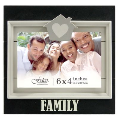 "Fetco Home Decor™ 4-Inch x 6-Inch ""Family"" Jethro Clip Wood Frame in Black"
