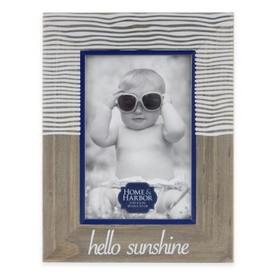 "Home and Harbor ""Hello Sunshine"" 4-Inch x 6-Inch Etched Wood Picture Frame in Natural"