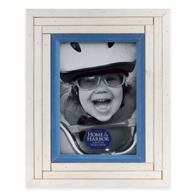 House and Harbour 5-Inch x 7-Inch Staggered Plank Wood Picture Frame in White
