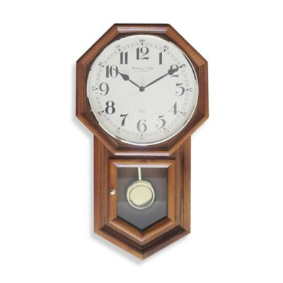 Sterling & Noble Traditional Schoolhouse Regulator Wall Clock in Oak