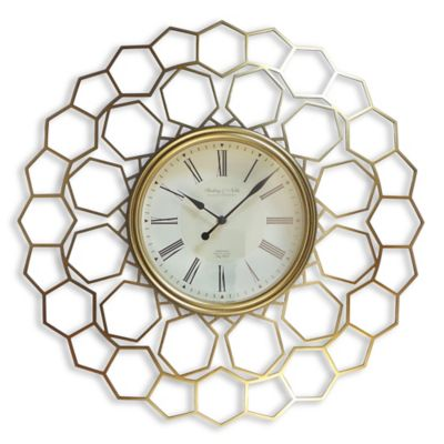 Sterling & Noble Hexagon Wall Clock in Gold