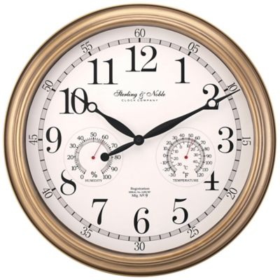 Sterling & Noble Indoor/Outdoor Wall Clock in Brushed Brass