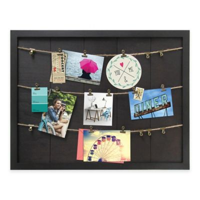 Marrone 7-Photo Rope Clip Collage Wood Frame in Dark Brown
