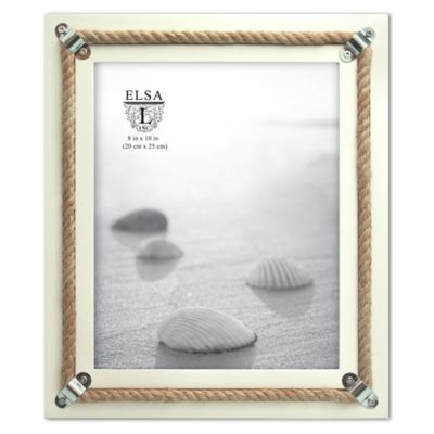 Elsa L Coastal 8-Inch x 10-Inch Wood with Rope Accent Picture Frame in White