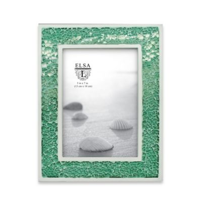 Elsa L 5-Inch x 7-Inch Crushed Glass Picture Frame in Green