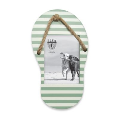 Elsa L Coastal 3-Inch x 4-Inch Wood Flip Flop Picture Frame in Green/White