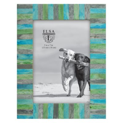Elsa L Coastal 5-Inch x 7-Inch Multicolored Bone Inlay Wood Picture Frame