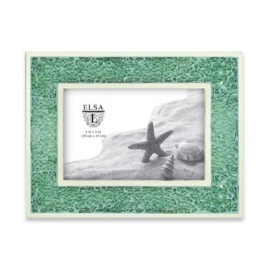 Elsa L 4-Inch x 6-Inch Crushed Glass Picture Frame in Green
