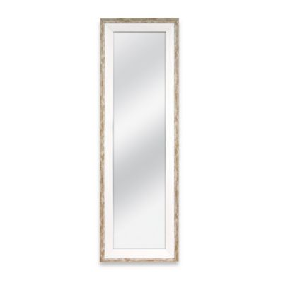 Door Solutions 48-Inch x 12-Inch Weathered 2-Tone Over-the-Door Mirror in Whitewash Wood