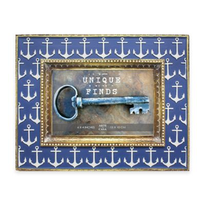 Argento Unique Finds 4-Inch x 6-Inch Anchors Picture Frame in Blue