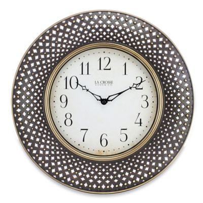La Crosse® Technology Lattice Wall Clock in Antiqued Brown