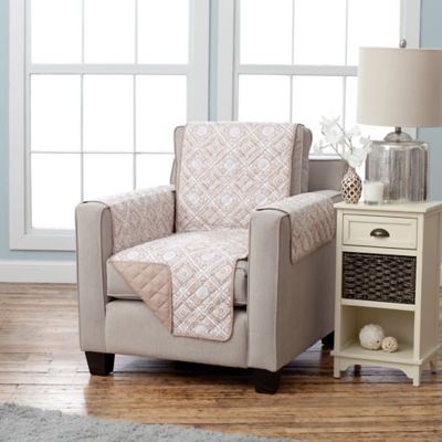 Adalyn Collection Reversible Chair-Size Furniture Protector in Diamond Print/Taupe
