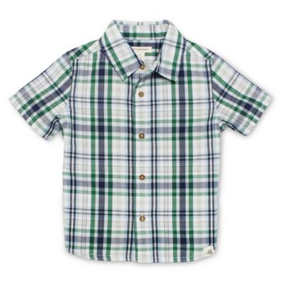 Burt's Bees Baby® Size 12M Short-Sleeve Plaid Collar Shirt in Navy