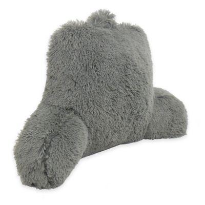 Warmly Shaggy Faux-Fur Backrest Pillow in Charcoal