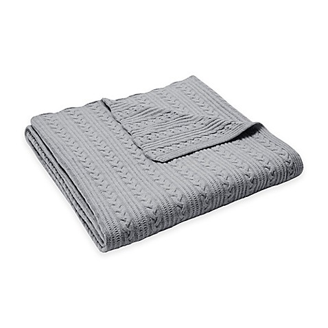 buy madison park cashmere blend cable knit throw in grey from bed bath beyond. Black Bedroom Furniture Sets. Home Design Ideas