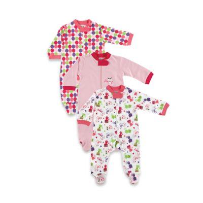 Luvable Friends Size 6-9M Zippered Sleep 'N Play Pajama 3-Pack
