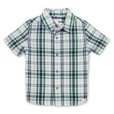 Burt's Bees Baby® Size 3-6M Short-Sleeve Plaid Collar Shirt in Navy