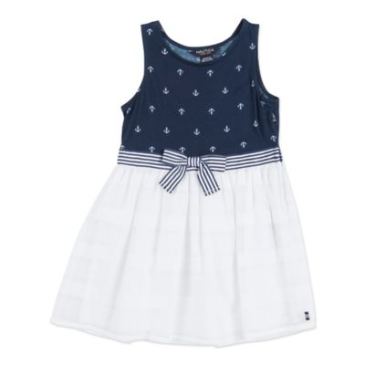 Nautica Kids® Size 12M Anchor Print Tank Top Sheer Stripe Dress in White/Navy