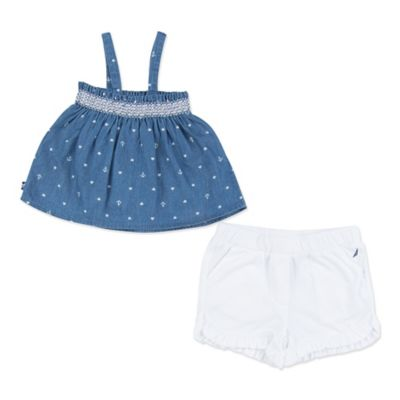 Nautica Kids® Size 3M 2-Piece Chambray Smocked Top and Ruffle Short Set in Blue/White