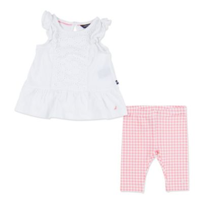 Nautica Kids® Size 3M 2-Piece Flutter Sleeve Eyelet Top and Gingham Legging Set in Pink/White