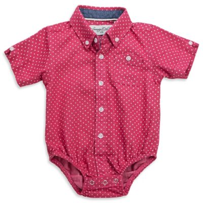 Sovereign Code™ Size 0-3M Chambray Dot Button-Down Bodysuit in Red