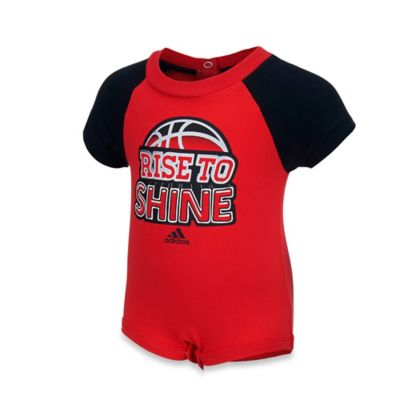 """adidas® Size 12M """"Rise to Shine"""" Bodysuit in Red"""