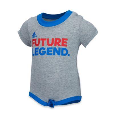 "adidas® Size 12M ""Future Legend"" Bodysuit in Grey"