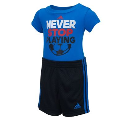 "adidas® Size 9M 2-Piece ""Never Stop Playing"" Bodysuit and Short Set in Blue"