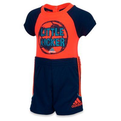 "adidas® Size 3M 2-Piece ""Little Kicker"" Bodysuit and Short Set in Red"