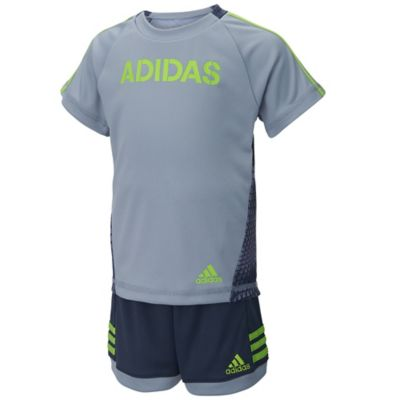 adidas® Size 9M 2-Piece Tech Snake Shirt and Short Set in Grey