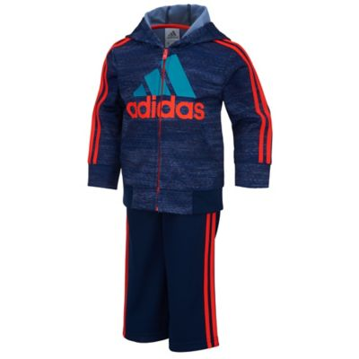 adidas® Size 9M 2-Piece Macro Heather Tricot Jacket and Pant Set in Navy/Orange