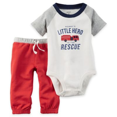 "carter's® Size 12M 2-Piece ""Mommy's Little Hero"" Bodysuit and Pant Set in Red/White"