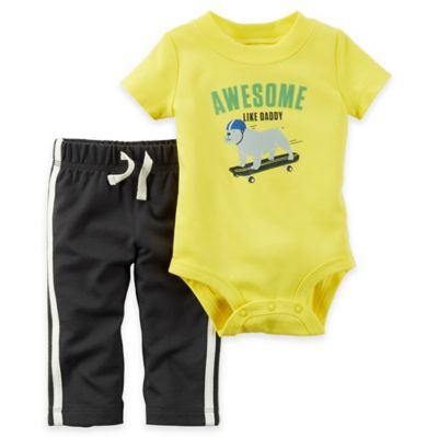 "carter's® Size 12M 2-Piece ""Awesome Like Daddy"" Bodysuit and Pant Set in Yellow"