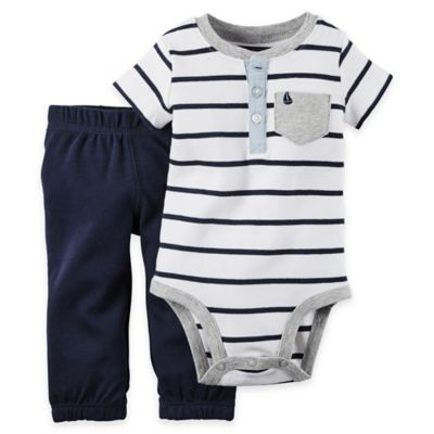 carter's® Size 18M 2-Piece Stripe Bodysuit and Pant Set in Blue