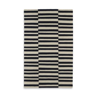 Kaleen Nomad Stripes 5-Foot x 8-Foot Area Rug in Black