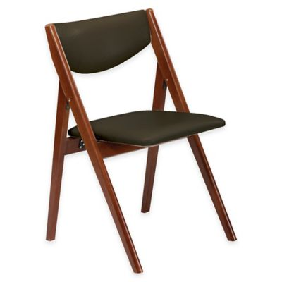 A-Frame Wood Folding Chair in Cherry/Black (Set of 2)
