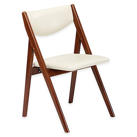 Buy A Frame Wood Folding Chair In Cherry Off White Set Of
